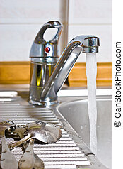 sink - kitchen series: kitchen steel sinr with tap
