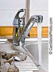 sink - kitchen series: kitchen steel sinr with tap