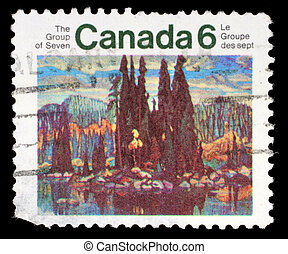 A stamp printed by Canada, shows Isle of Spruce, by Arthur...
