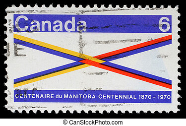 A stamp printed in Canada honoring Manitoba Centennial -...