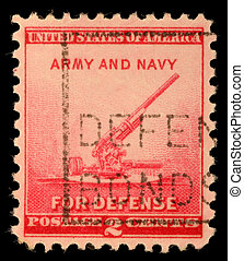 A stamp printed by United states, shows 90-millimeter...