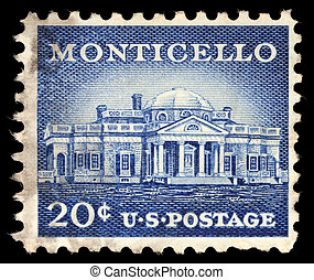 Stamp printed in USA shows Monticello, the estate of Thomas...