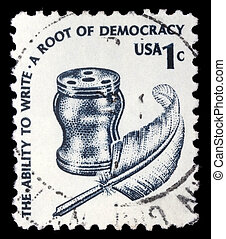 A stamp printed in United states USA, shows Inkwell and...