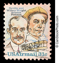 A Stamp printed in USA shows image of the brothers Orville...
