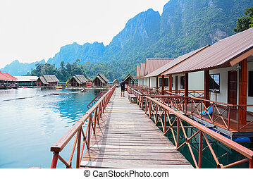 floating home ,Cheow Lan lake, Khao Sok National Park,...