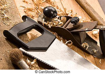 carpenters tool - set of carpenters tool on tne wood and...