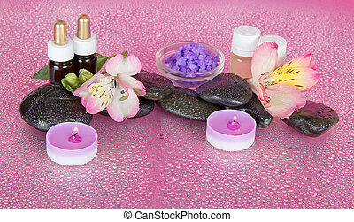Candles, aroma oil, salt, stones and flowers - Candles and...