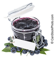 Glass with Blueberry Jam on white - Glass with Blueberry Jam...