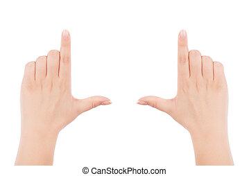 Female hands making frame gesture