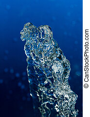 water on a blue background