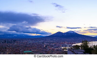 Mount Vesuvius Dawn over Naples Time Lapse 4K - Mount...