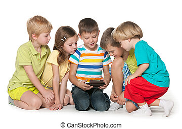Children are playing with a new gadget