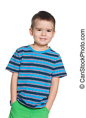 Smiling small boy in striped shirt - A portrait of a smiling...