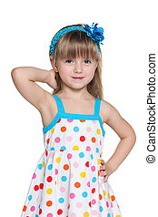 Pretty little girl in polka dot dress - Portrait of a pretty...