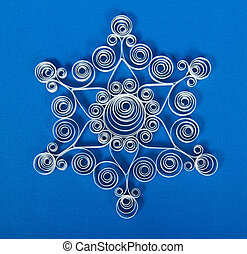 Made from paper strips christmas snowflake - Quilling. Made...