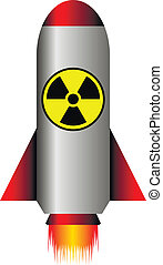 Nuclear ballistic rocket on white - vector illustration.