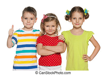 Cheerful preschoolers - Portrait of three cheerful...