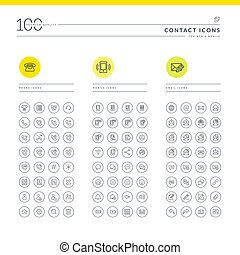 Set of contact icons for web - Icons for telephone, mobile...