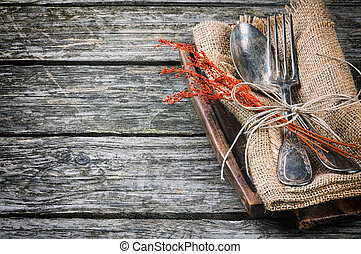 Rustic table setting in brown tone