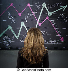 girl with charts on whiteboard