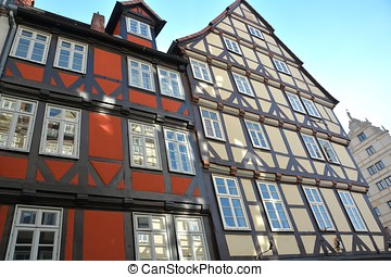 half-timbered houses in Hanover - historic half-timbered...