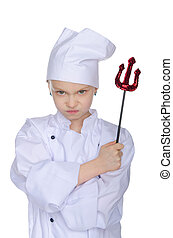 Evil chef with infernal pitchfork isolated on white