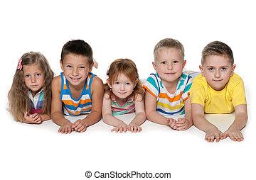 fünf, Freudig, Kinder