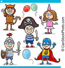 children in fancy ball costumes set - Cartoon Illustration...