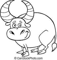zodiac taurus or bull coloring page - Black and White...