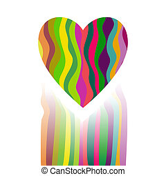 Vector Heart Made from Color Stripes