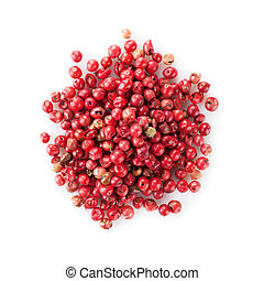 Red peppercorn heap. Isolated on white background