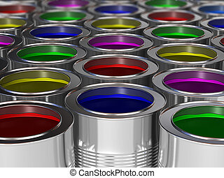 metal cans filled with paint of different colors