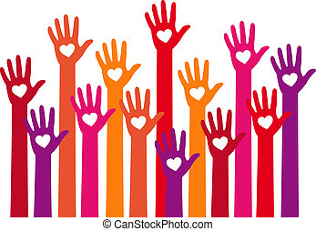 red hands with heart, vector - teamwork concept, hands with...