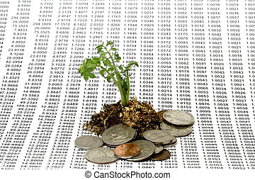 Money Growth Concept - Plant seeded with numbers in...