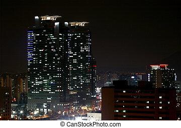 cidade, cena, noturna