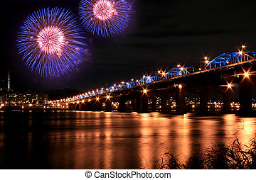 Spectacular Fireworks in Han River with reflection