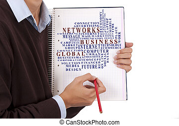 businessman with notepad and concepts