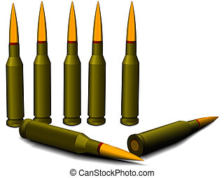 Ammunition for a rifle - cartridges with bullets in a vector...