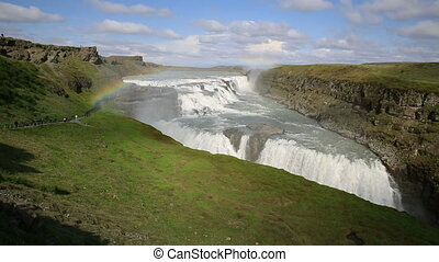 Gullfoss in Iceland - Gullfoss waterfall, tourists and...