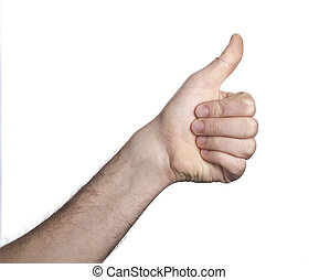 Yes gesture - hand with thumb up isolated with white...