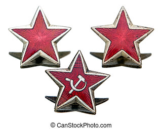 Communist star - Three Communist star isolated on a white...