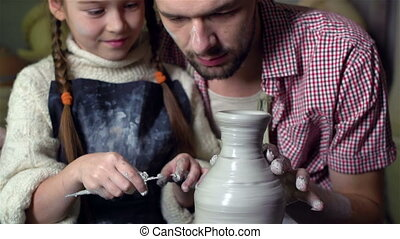 Dad And Daughter Crafting - Father and his cute daughter...