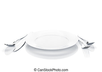 Silverware or flatware set of fork, spoon, knife and plate...