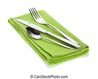 Silverware or flatware set of fork, spoon and knife on...