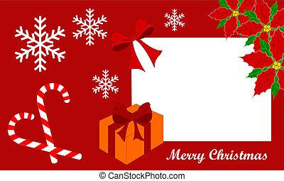 Biglietto natalizio - Biglietto di Auguri con addobbi...