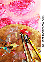Paintbrush and beautiful painting with flowers - Paintbrush...