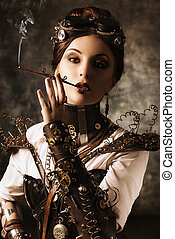 subculture - Portrait of a beautiful steampunk woman over...