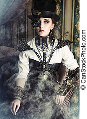 posing in a fog - Portrait of a beautiful steampunk woman...