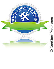 Repairs icon - Blue repairs icon on a white background