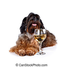 Decorative dog with a glass - Dog with a wine glass Small...